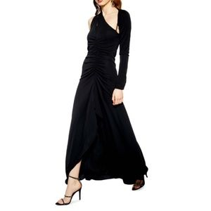Topshop One Shoulder Black Maxi Dress